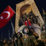 People demonstrate in front of the Republic Monument at the Taksim Square in Istanbul, Turkey, July 16, 2016.   REUTERS/Murad Sezer