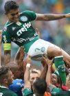 O jogador Dudu, da SE Palmeiras, comemora seu gol contra a equipe do São Paulo FC, durante partida válida pela oitava rodada, do Campeonato Paulista, Série A1, na Arena Allianz Parque.
