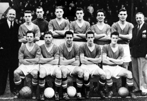 Sport. Football. England. 1957. Manchester United FC (League Champions and FA Cup Finalists). Back Row: Matt Busby (Manager), Eddie Colman, Ray Wood, Mark Jones, Bill Foulkes, David Pegg, Duncan Edwards, Jimmy Murphy (Assistant Manager). Front Row: Johnny